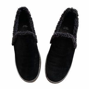 Stuart Weitzman Black Suede Fleece Slip On Sneaker